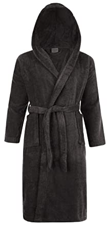 Adore Home Mens   Ladies Hooded 100% Cotton Terry Towelling Shawl Collar  Bathrobe Dressing Gown 13a9fbda9