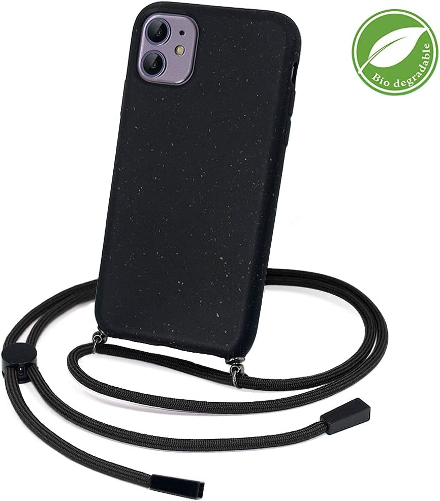 Eco-Friendly-Crossbody case,Strap Phone case,Sports Outdoor Phone Case-Black JUST Must Phone Case for iPhone 11-100/% Compostable