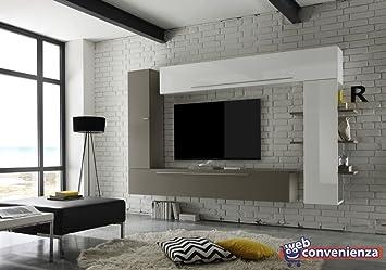 Pareti Soggiorno Beige : Line a beige opaco e bianco lucido parete attrezzata soggiorno