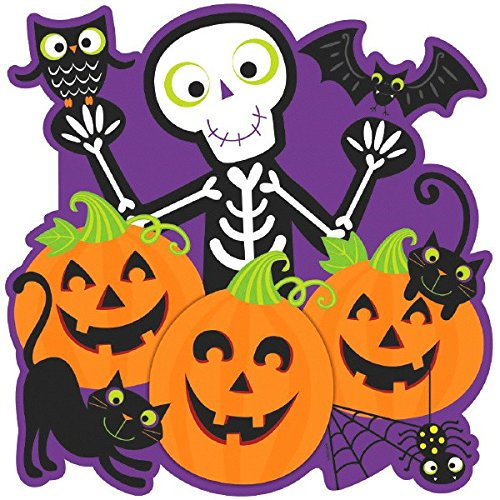 Amscan Friendly Skeleton & Pumpkin Patch Cutout Halloween Trick or Treat Party Decoration, 15