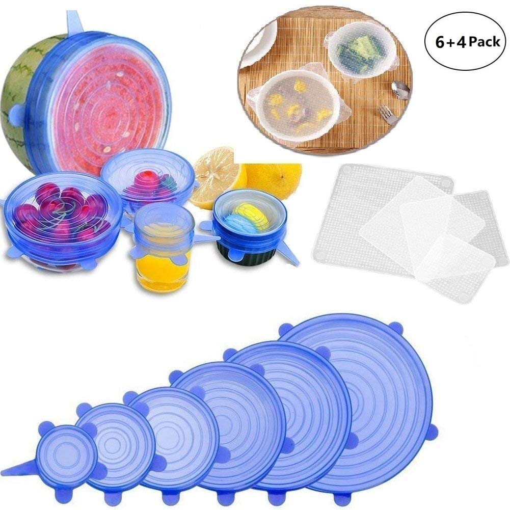 Silicone Stretch Lids and Bowl Covers,the Perfect combination,BPA Free, Reusable, Durable and Expandable to Fit Various Sizes and Shapes of Containers, Keeping Food Fresh(10 Packs)