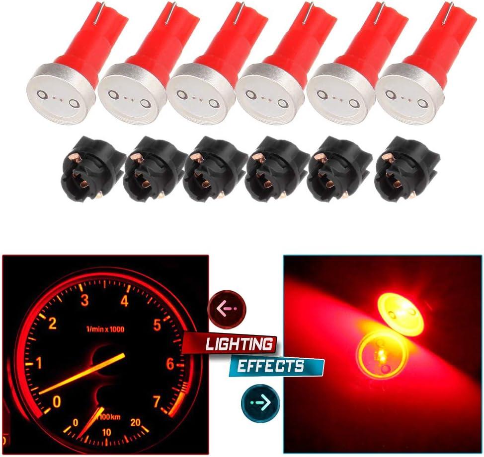 cciyu 6x High Power T5 73 74 Wedge Instrument Cluster Speedometer LED Light Bulbs Red + 6x Twist Sockets 17 37 70 Instrument Panel Cluster Plug Lamp Dash Light Bulb T5