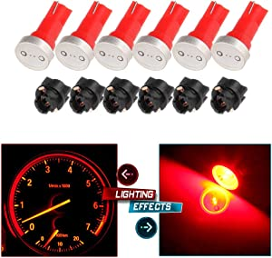 cciyu 6x High Power T5 73 74 Wedge Instrument Cluster Speedometer LED Light Bulbs Red + 6x Twist Sockets 17 37 70 Instrument Panel Cluster Plug Lamp Dash Light Bulb T5