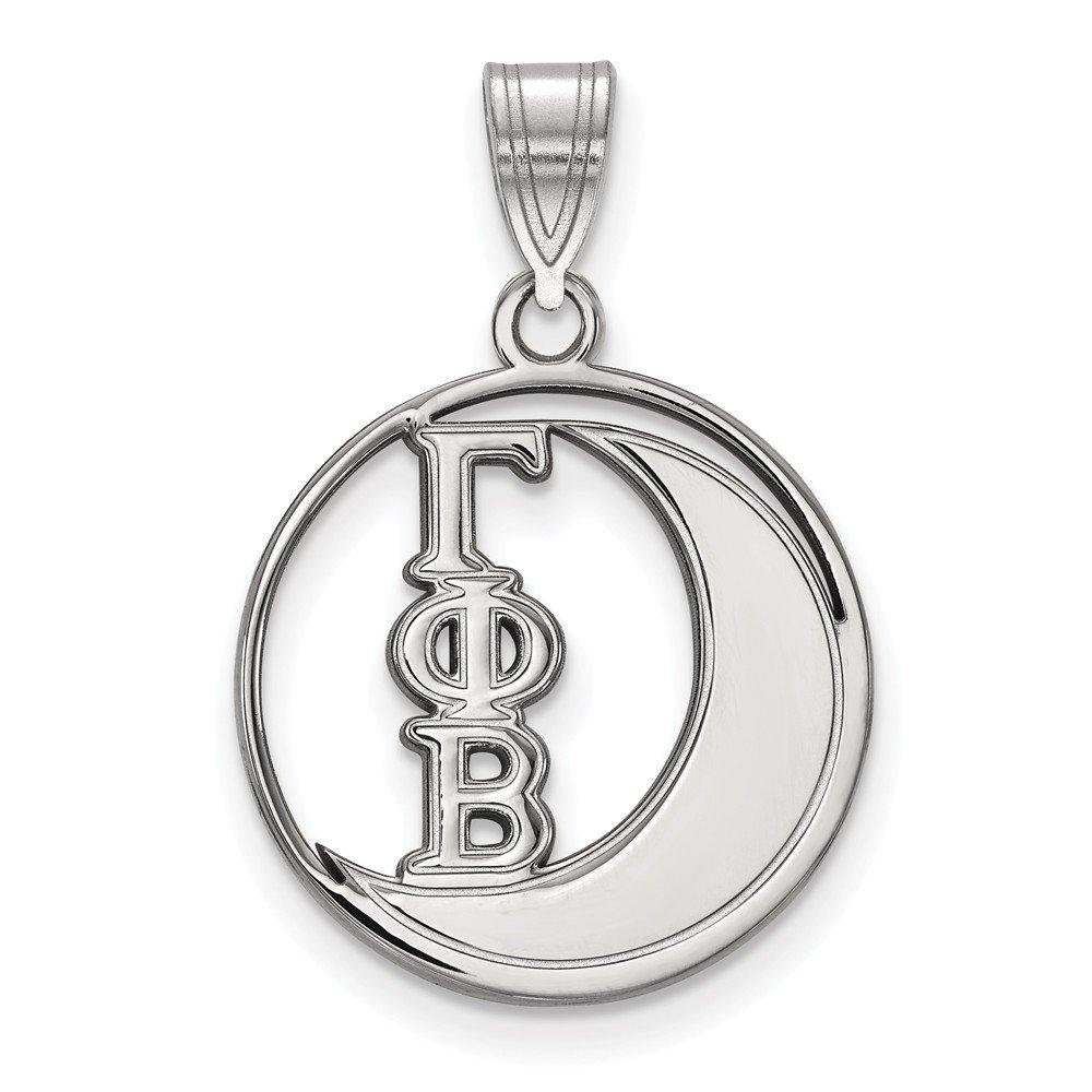 Solid 925 Sterling Silver Gamma Phi Beta Small Circle Pendant