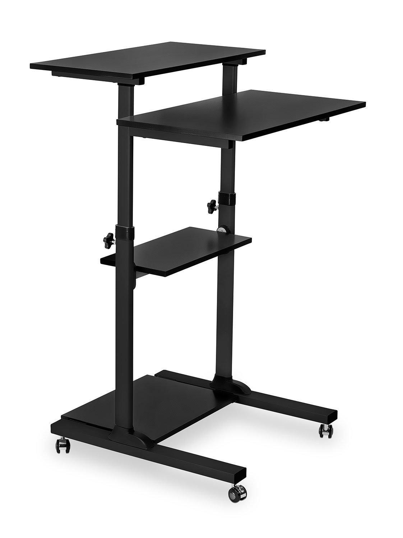 Mount-It! Mobile Stand Up Desk / Height Adjustable Computer Work Station Rolling Presentation Cart (MI-7940B)