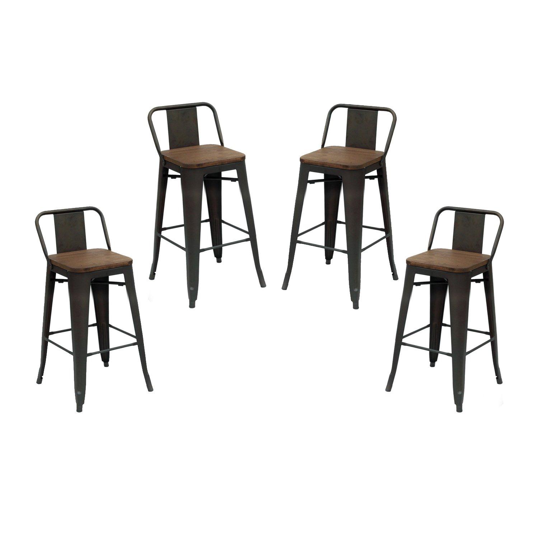 Sensational Amazon Com Purenity Matte Metal Industrial Wood Top Bar Dailytribune Chair Design For Home Dailytribuneorg