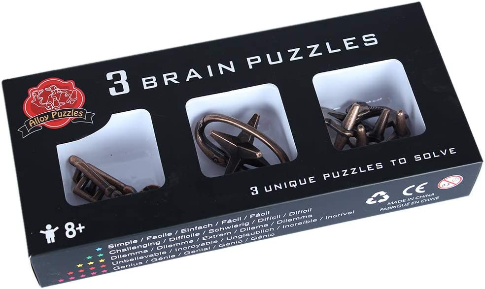 3Pcs Zinc Alloy Magic Educational Toy Brain Teaser Intelligence Buckle Box