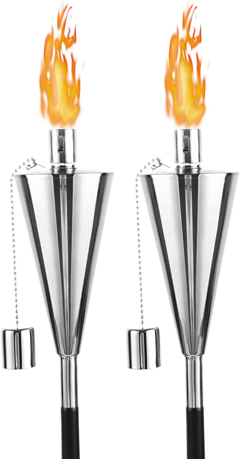 FAB BASED 2 Pack Oil Torch Lamp Torch, Citronella Torches Outdoor Mosquito,Backyard Torches for Patio/Lawn/Garden/Outdoor,Blink Silver