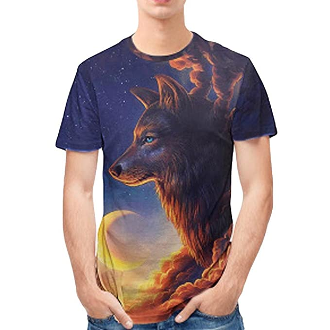 Personalidad para Hombre 3D Imprimir Lobo Casual Camisa de Manga Corta Top Blusa