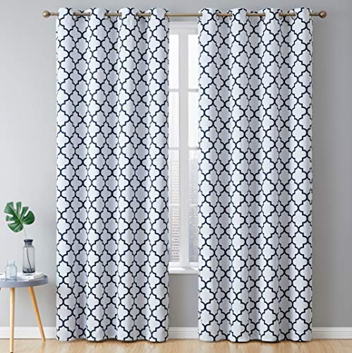HLC.ME Lattice Print Thermal Insulated Blackout Room Darkening Window Curtains for Bedroom - Platinum White & Navy Blue - 52