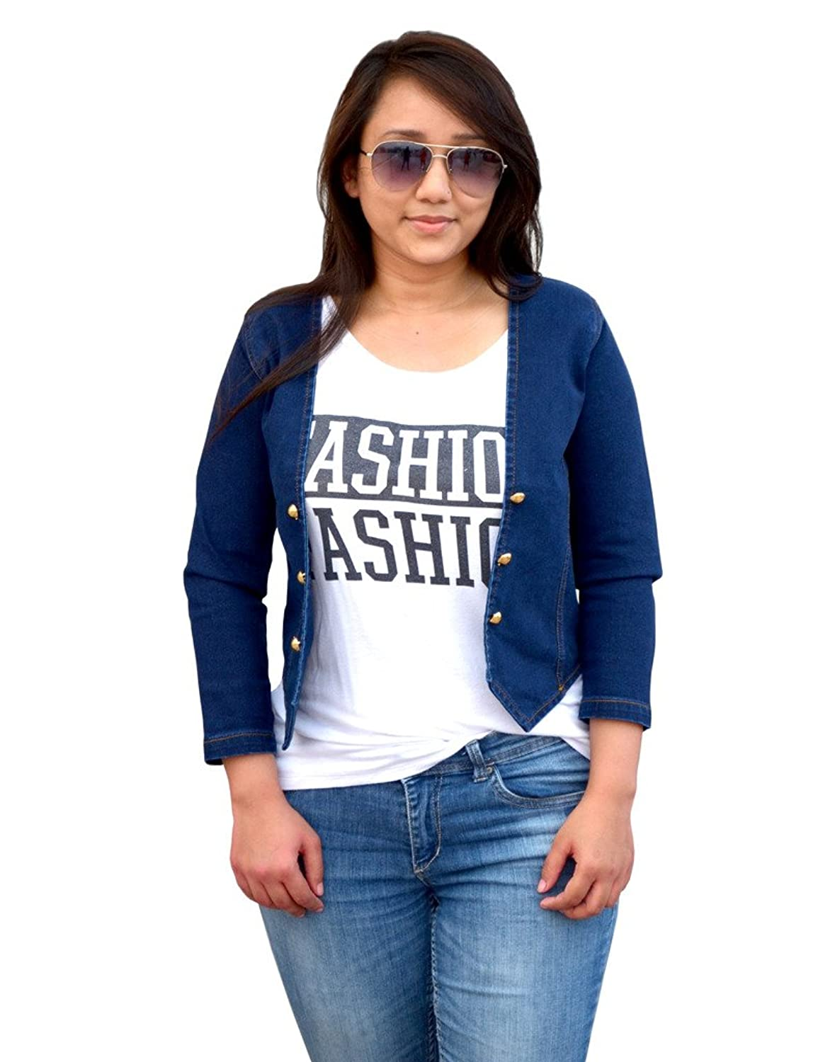 Aarti Collections Stylish 3/4 Sleeve Dark Blue Denim Jacket for ...