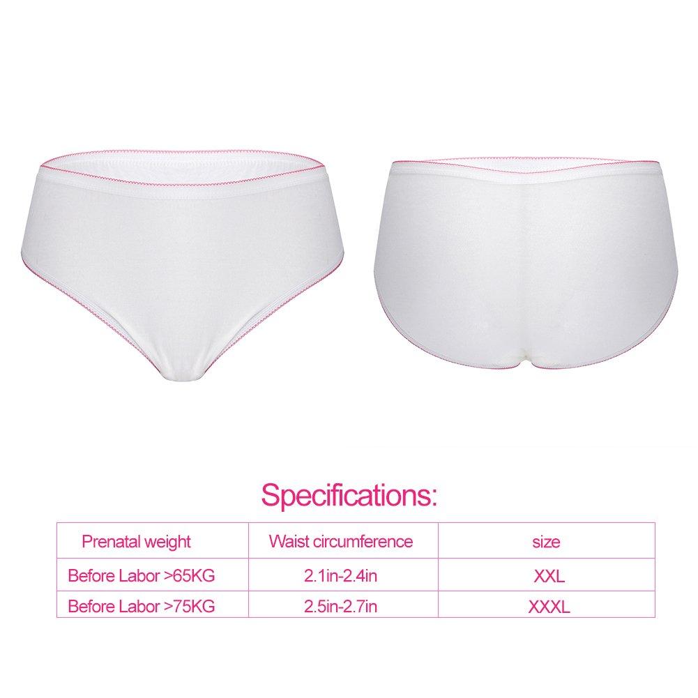 XXXL 4 pcs Disposable Underpants Women High Absorbent Elastic Breathable Cotton Travel Underwear for Pregnant or Postpartum Woman XXL XXXL