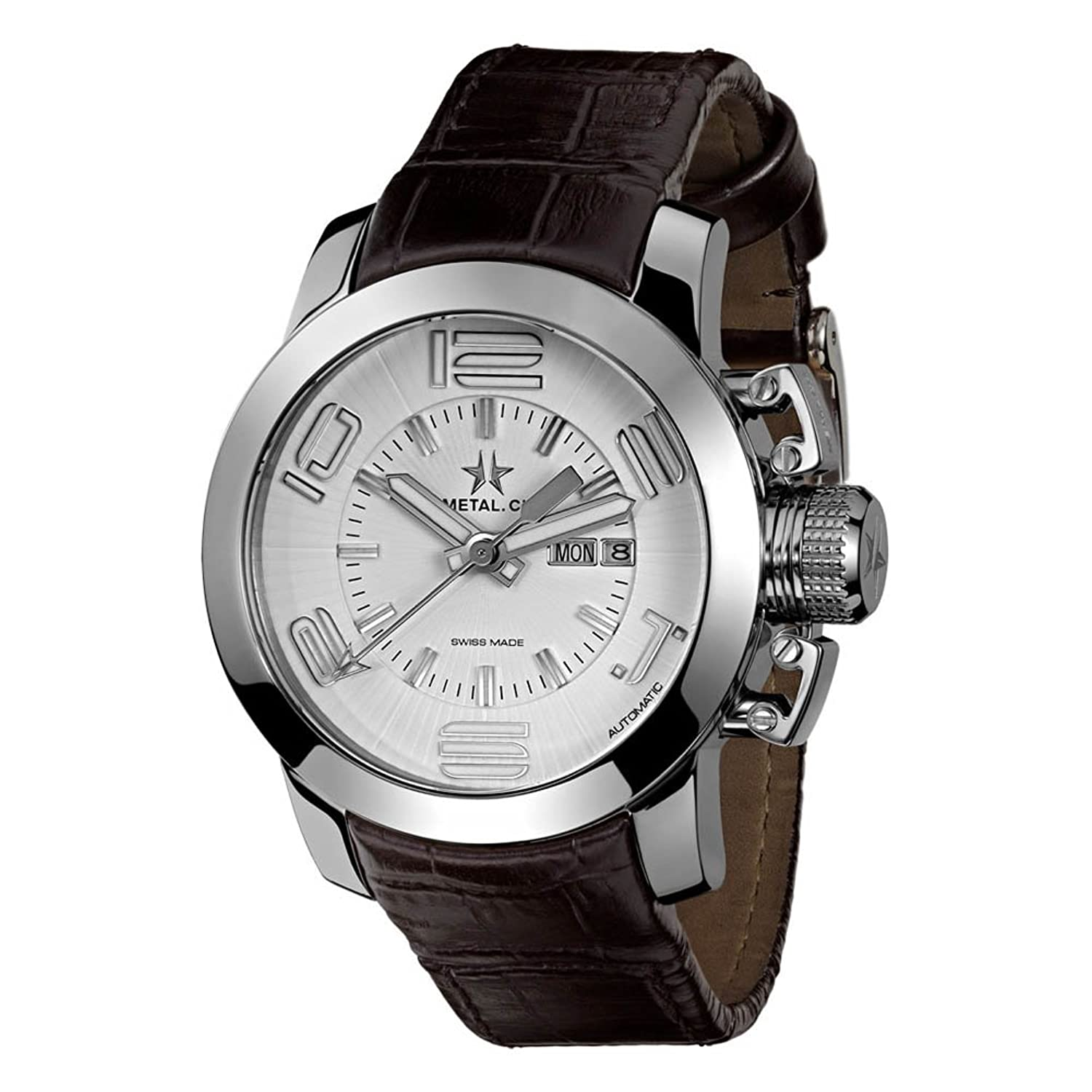 METAL Chronometrie Swiss Made Uhr - GRAND silber 44mm