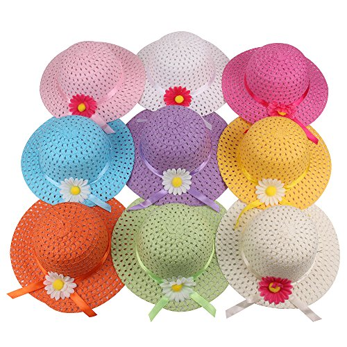 Girls Sunflower Straw Tea Party Hat Set (9 Pcs, Assorted Colors) -