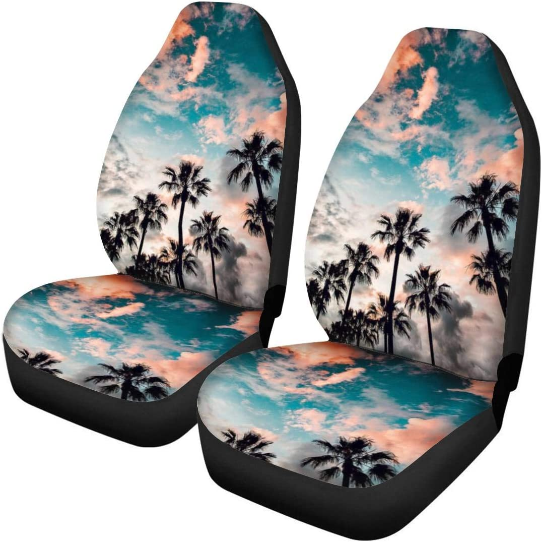 Pizding - Juego de 2 fundas para asientos delanteros de coche, universal, apto para vehículos sedán, todoterreno, furgoneta, parque tropical, palmeras, amanecer, rosa, cielo, a prueba de suciedad
