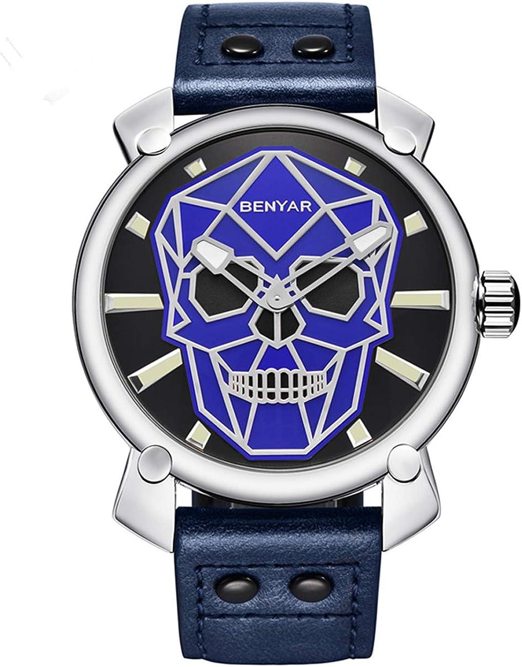 BENYARI Reloj de Cuarzo para Hombre, diseño de Calavera 3D, Resistente al Agua