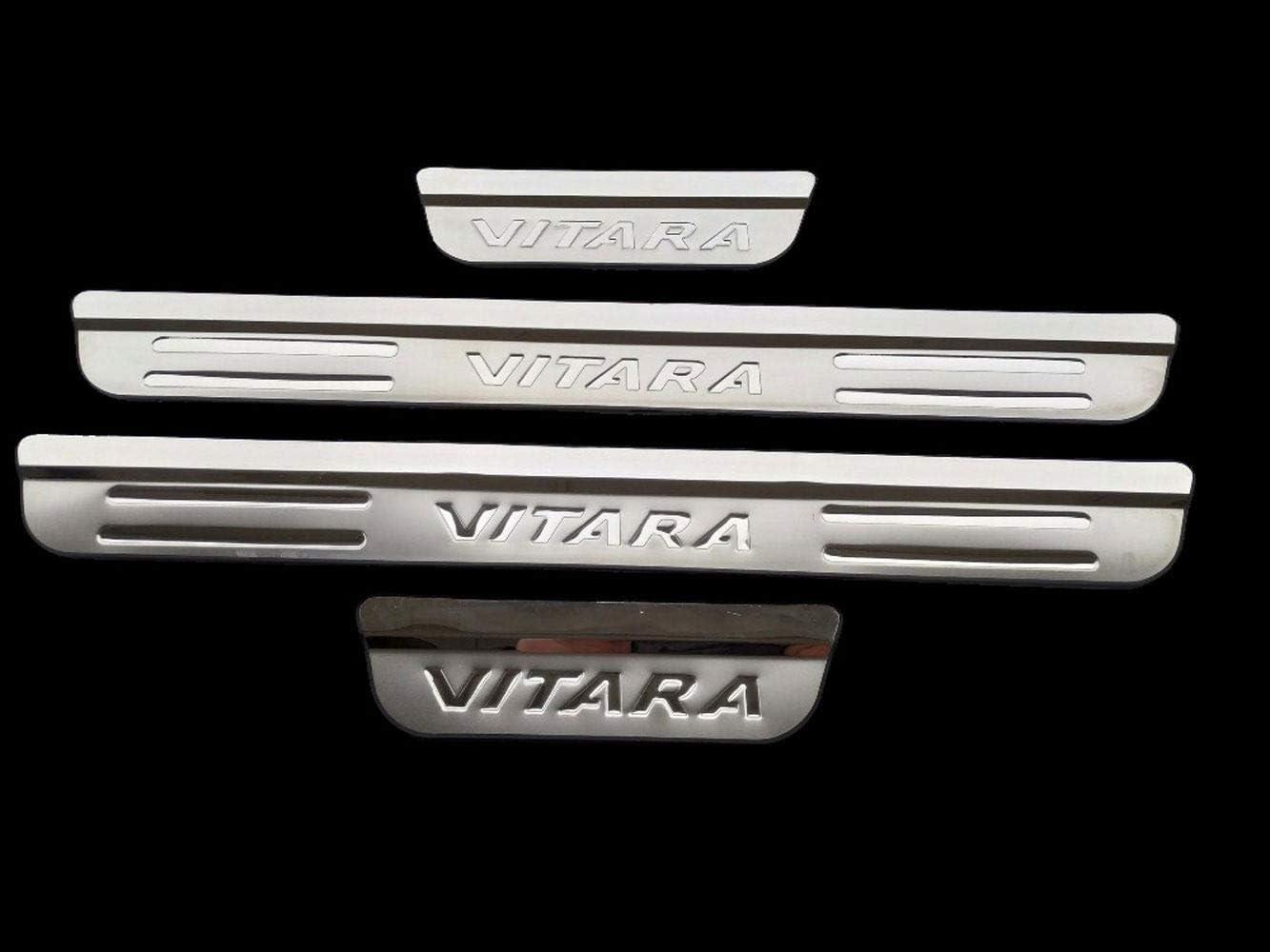HJHNB 4 pi/èces Protecteur de seuil de Porte de Voiture pour Suzuki Vitara 2015-2020 Garniture de Protection de seuil de p/édale dusure Accessoires de Garniture Acier Inoxydable,Silver
