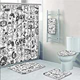 5-piece Bathroom Set-Includes Shower Curtain Liner,Video Games Sketch Style Gaming Design Racing Monitor Device Gadget Teen Blak WhitePrint Bathroom Rugs Shower Curtain/Bath Towls Sets(Large size)