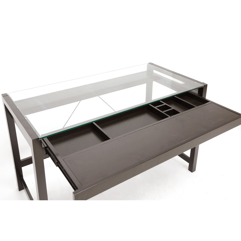 Wood Desk With Glass Top Part - 17: Amazon.com: Baxton Studio Idabel Dark Brown Wood Modern Desk With Glass Top:  Kitchen U0026 Dining