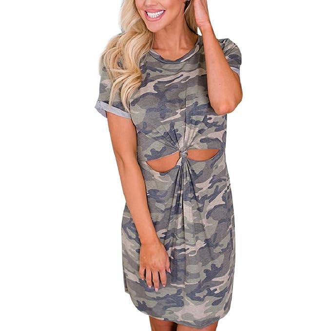 3470d9c05c596 ShenPr Women Camouflage Belly Knot Hollow Out T Shirt Dress Summer Beach  Dress (S,
