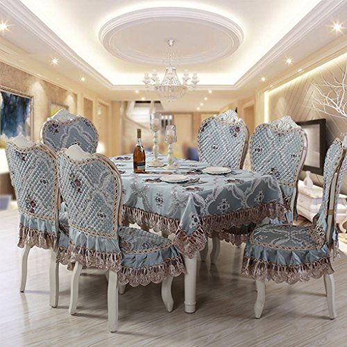 FJH Tablecloth Luxury Elegant European Style Blue Square Tablecloth Dining Table Cloth Lace Jacquard Fabric Comfortable Coffee Table Cover (Size : B(Chair-mat+backrest) 1) (Dining Table Style European)