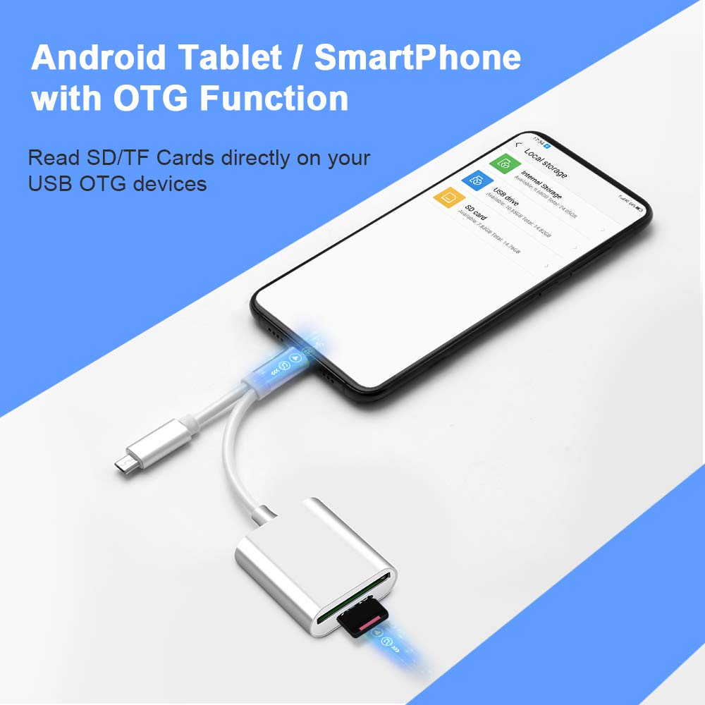 USB C to SD//MicroSD Card Reader Type C//Micro USB OTG Adapter Aluminum TF Card Memory Card Reader Camera reader Drive Recorder Video Reader Trail Cam Viewer for Android phones//Tablets//PC//Laptop