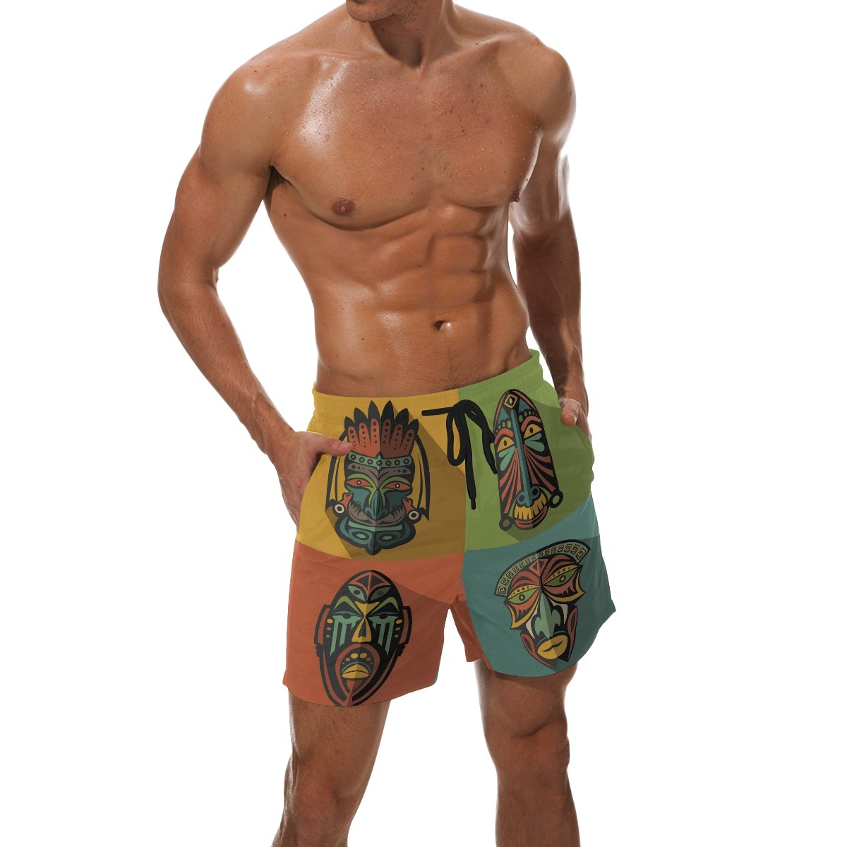 KEAKIA Mens Set of African Ethnic Tribal Masks Beach Board Shorts Quick Dry Swim Trunk