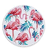 HiFunSky Beach Towel,Round Tapestry,Round Roundies Beach Throw,Large Round Beach Blanket,Picnic Table Cover,Tablecloth Meditation Yoga Mat Multi-Purpose Towel with Tassels Ultra 60 inch (Flamingo)