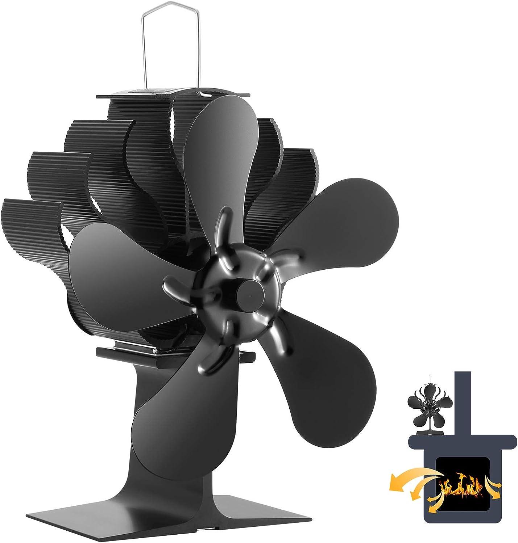 Ventilador Estufa 5 Aspas Funcionamiento Silencioso Ventilador Estufa de Energía Térmica Ecofan para Estufa de Leña/Chimenea/Gas/Pellets/Madera/Troncos (5 Palas)
