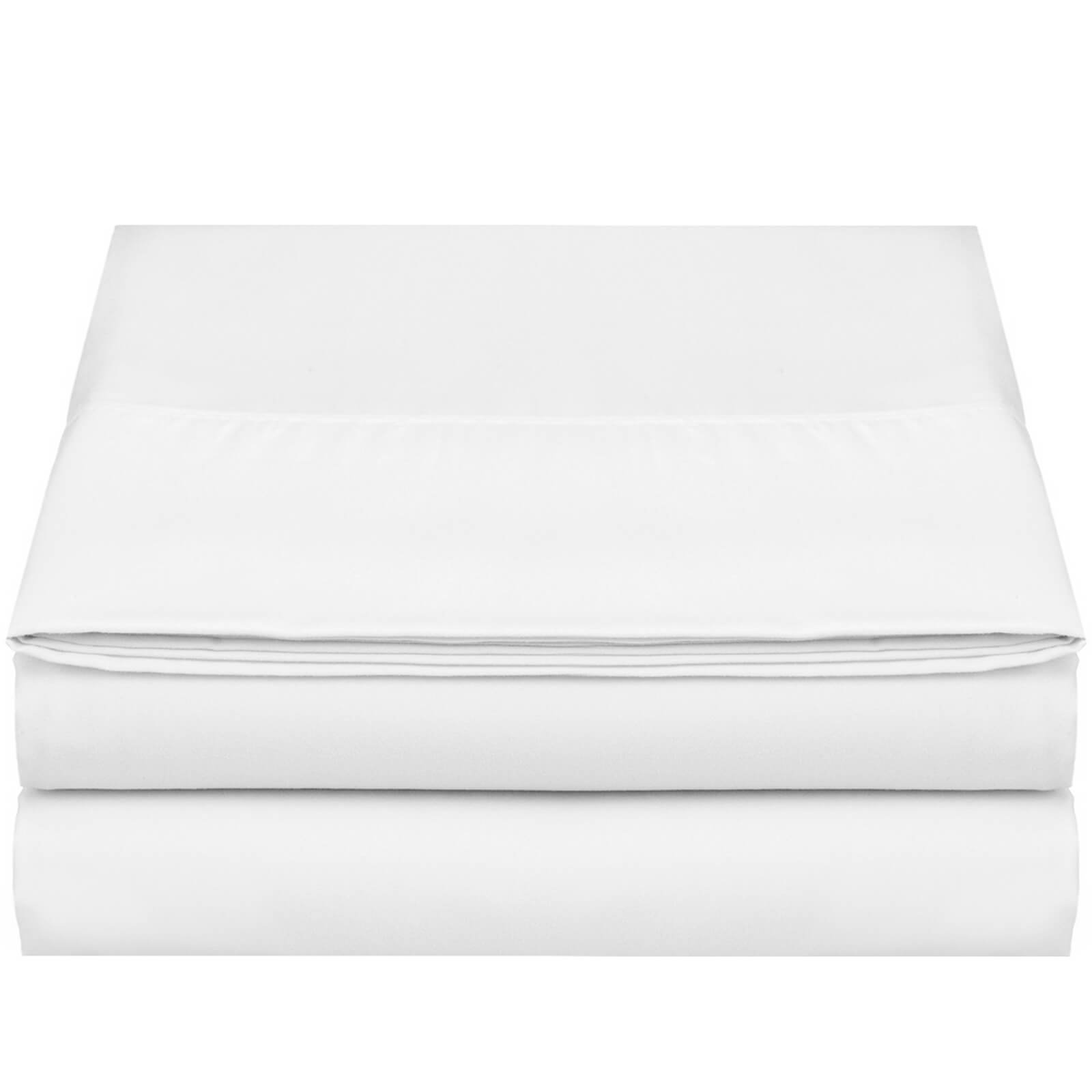 """Empyrean Bedding Premium Flat Sheet – """"110 GSM"""" Double Brushed Microfiber Extra Thick and Comfortable Flat Sheets, Luxurious & Soft Hotel Single Top Bed Sheet Hypoallergenic, Queen, White"""