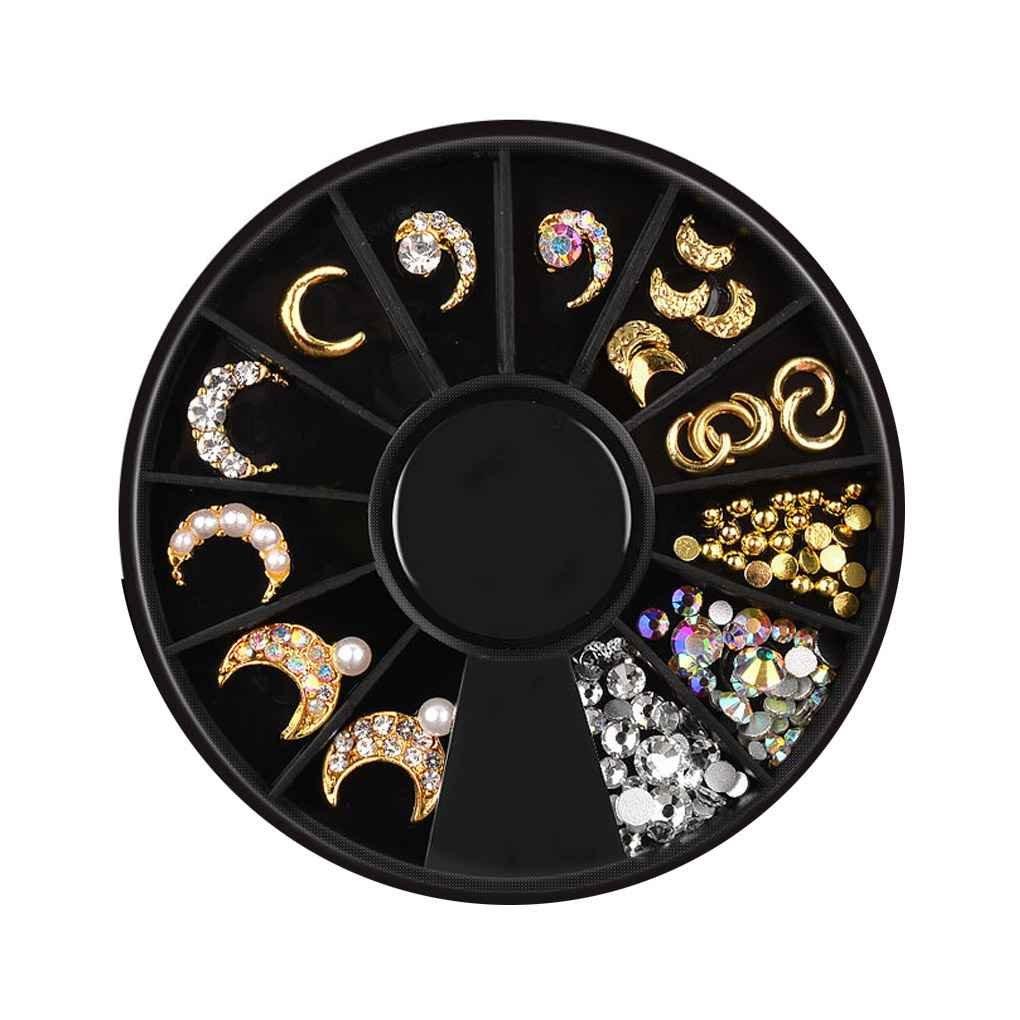 fish 12 Grids Étoile Lune Rivet Manucure Sequin Plateaux en Alliage galvanoplastie Ongles Accessoires décoration Set
