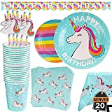 102 Piece Rainbow Unicorn Party Supplies Set Including Banner, Plates,...