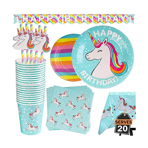 102 Piece Rainbow Unicorn Party Supplies Set Including Banner, Plates, Cups, Napkins, Straws, and Tablecloth, Serves 20 3