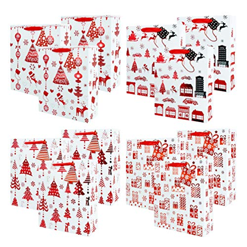 UNIQOOO 12Pcs Premium Assorted Red Metallic Christmas Gift Bags Bulk, 12½x10½x4,100% Recyclable Paper Retail Shopping Bags, Ribbon Handle/Matching Tag,Wedding,Birthday Party,Holiday,Christmas