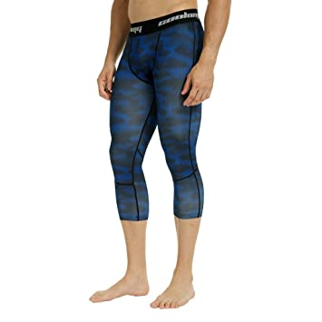 95d2efc0153 COOLOMG Men s Compression Pants 3 4 Tights Workout Running Pants Cool Dry  Baselayer Leggings Blue
