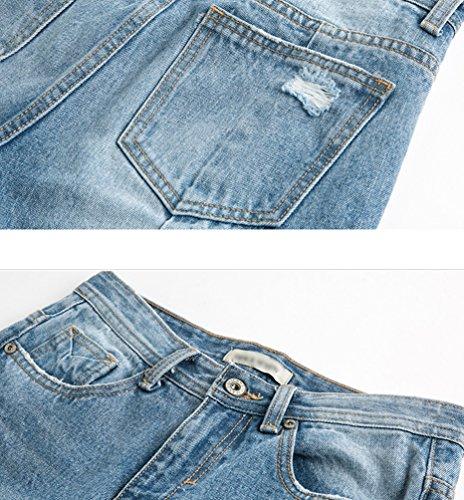 Haute Casual Clair Taille Bleu vass Denim Jeans Pantalons Chic Femmes Dchirs ZhiYuanAN En q0w4AnXOUx