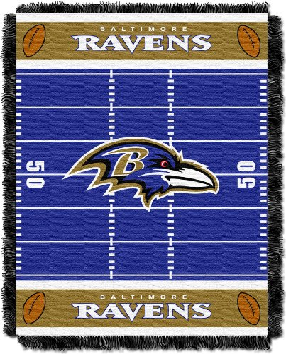 The Northwest Company Officially Licensed NFL Baltimore Ravens Field Bear Woven Jacquard Baby Throw Blanket, 36