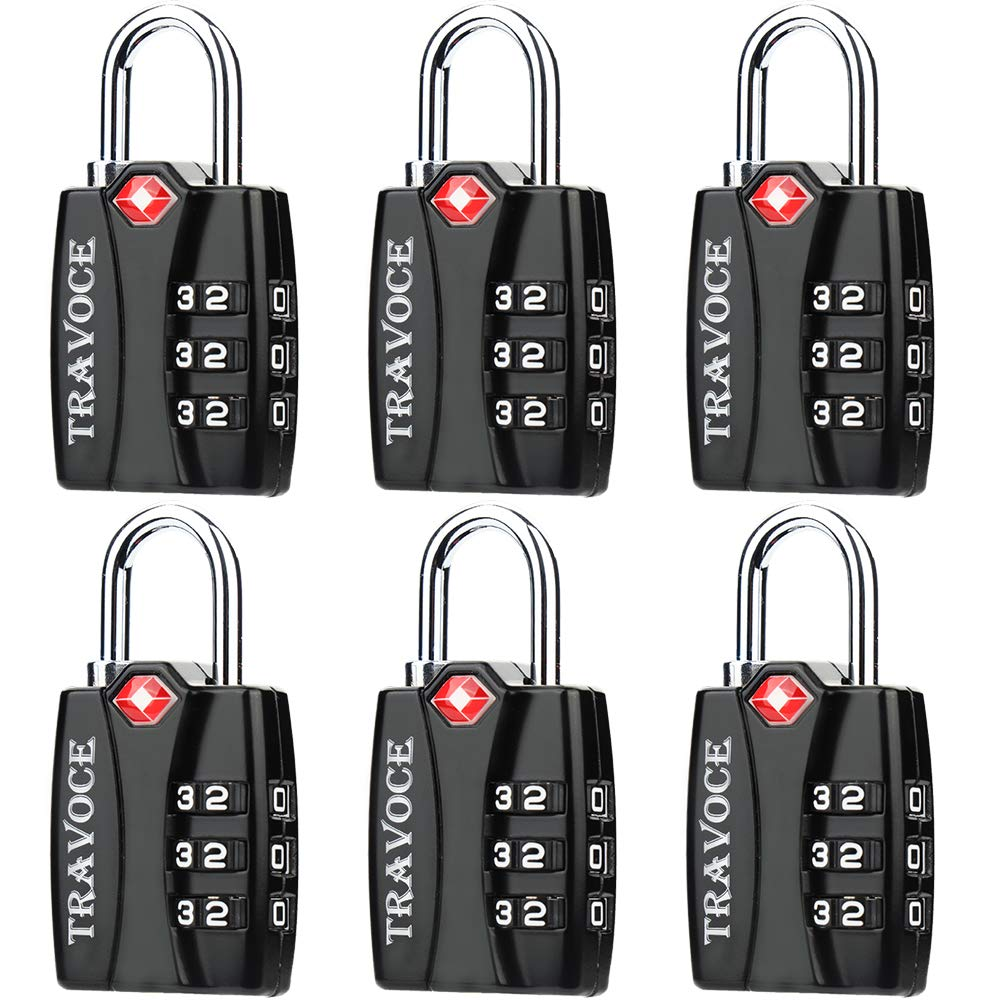 TSA Approved Luggage Locks, Travel Locks Which Also Work Great as Gym Locks, Toolbox Lock, Backpack and more, Black 6 Pack by Travoce