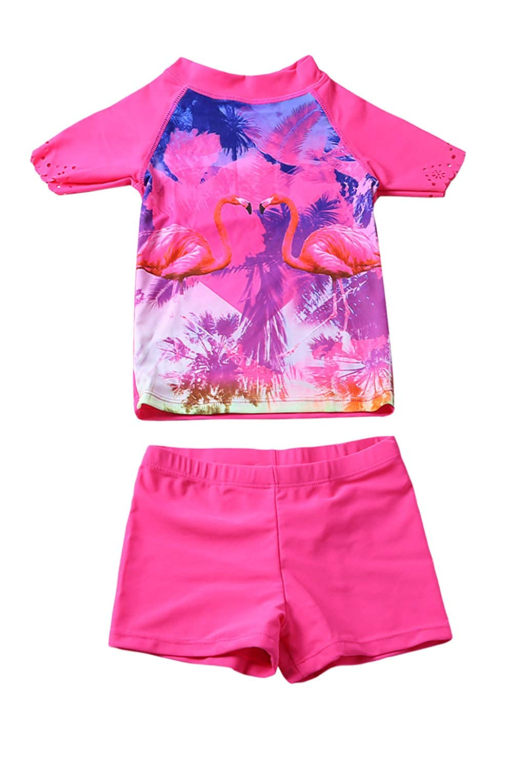 Aleumdr Little Girls Beach Day Comfortable Shirt and Short Set Two Piece Flamingo Swimsuit JZT410022-P