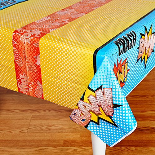 BirthdayExpress Superhero Comics Party Supplies - Plastic Table Cover -