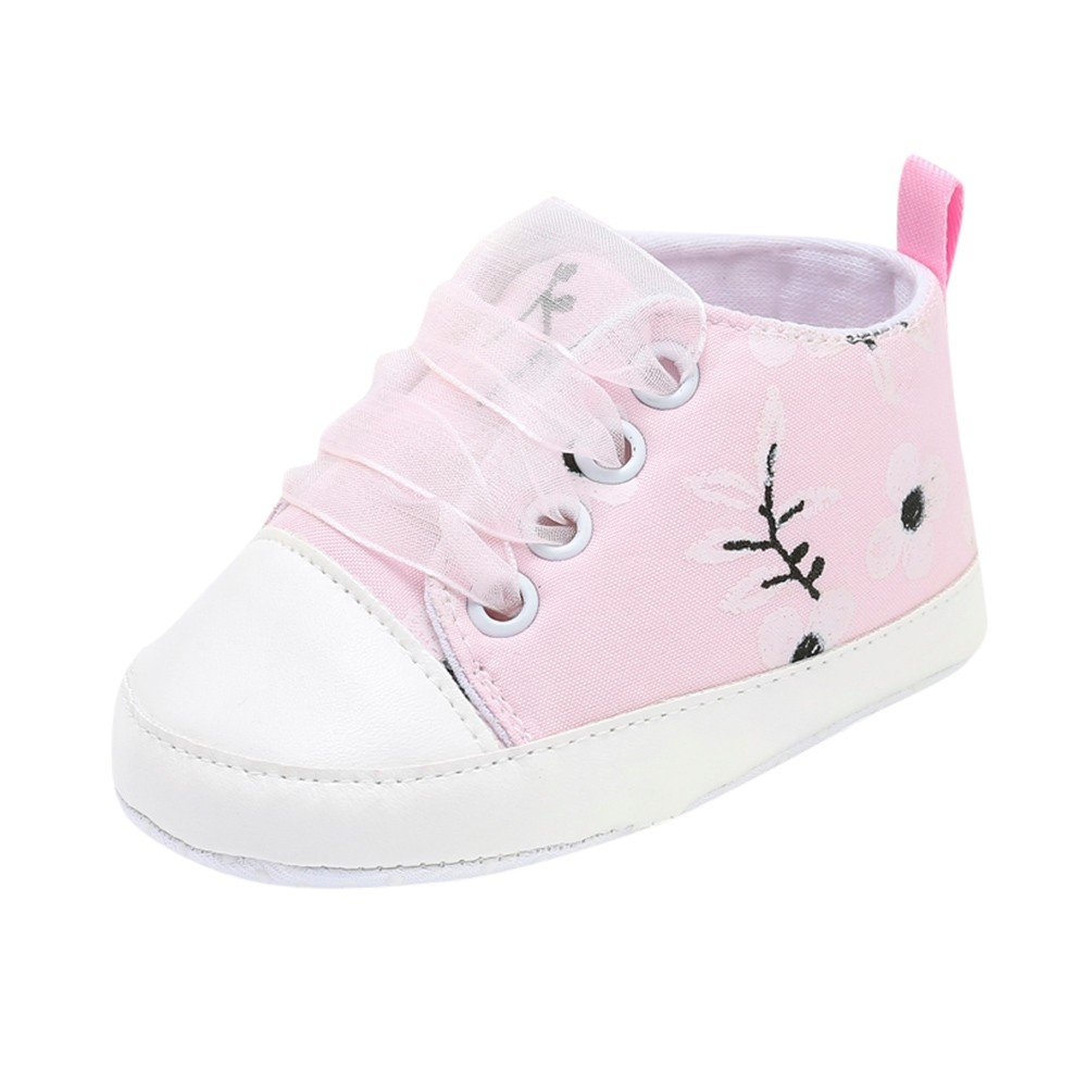 HOSOME Baby shoes Girls Boys Floral Embroidery Print Solid Soft Sole Casual Shoes Pink