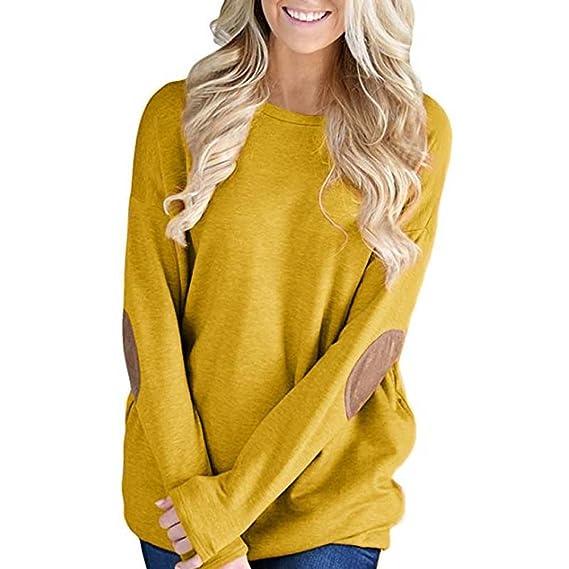 VJGOAL Mujeres otoño Informal Suelta la Moda de Manga Larga de Color sólido Remiendo Camiseta Inferior Blusa Tops: Amazon.es: Ropa y accesorios