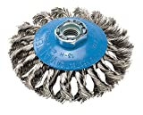 Walter Saucer-Cup Knot-Twisted Brush, Threaded Hole, Stainless Steel 304, 4'' Diameter, 0.015'' Wire Diameter, 5/8''-11 Arbor, 20000 Maximum RPM