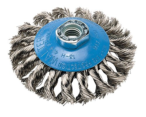 Walter 13H404 Saucer-Cup Knot-Twisted Brush – 4 in. Carbon Steel Wire Brush with 5/8-11 in. Arbor Hole. Surface Finishing Supplies, Orange
