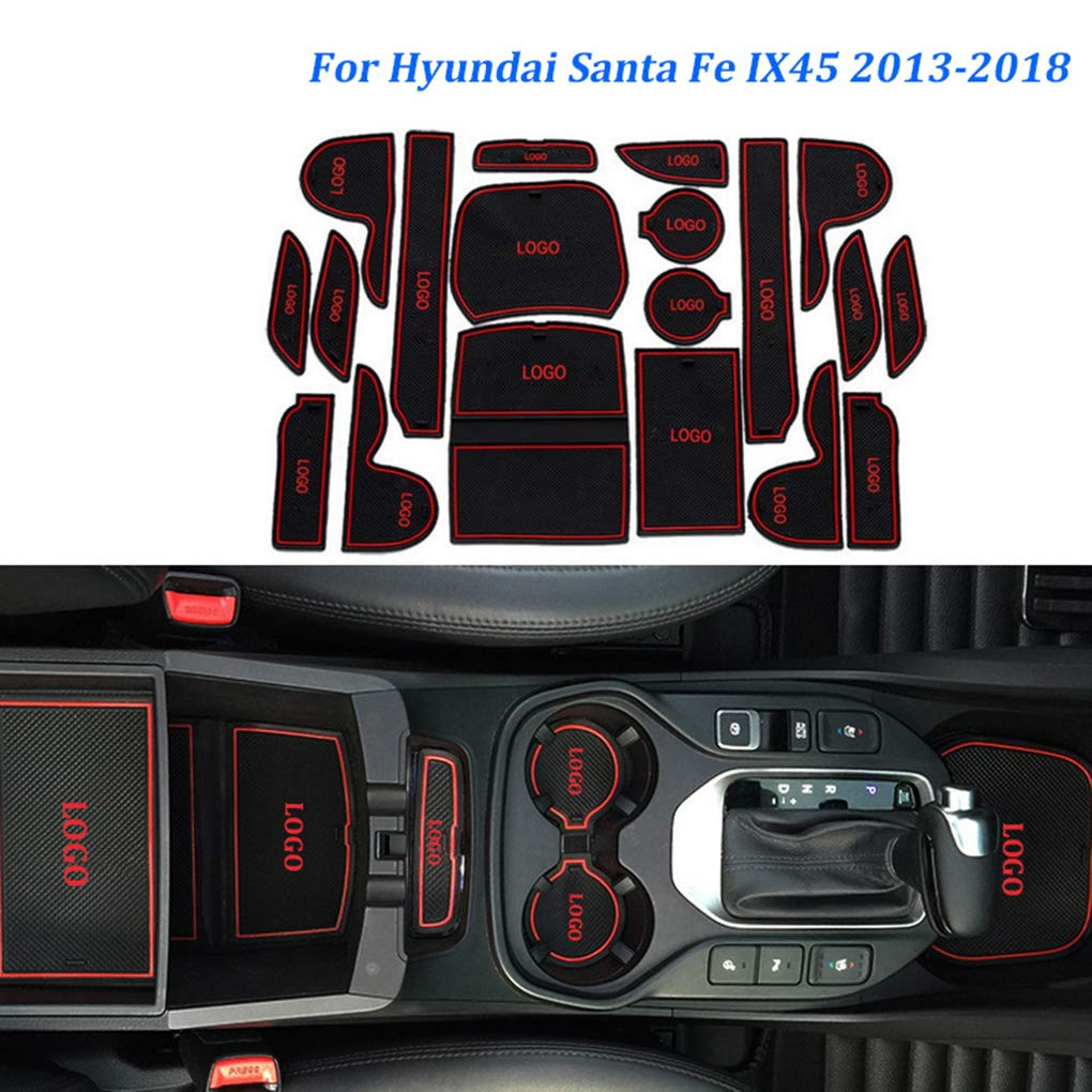 19pcs//set Car Door Groove Non-slip Pad Cup Holder Gate Slot Mat Replacement For Hyundai Santa Fe Ix45 2013-2018 fgyhty