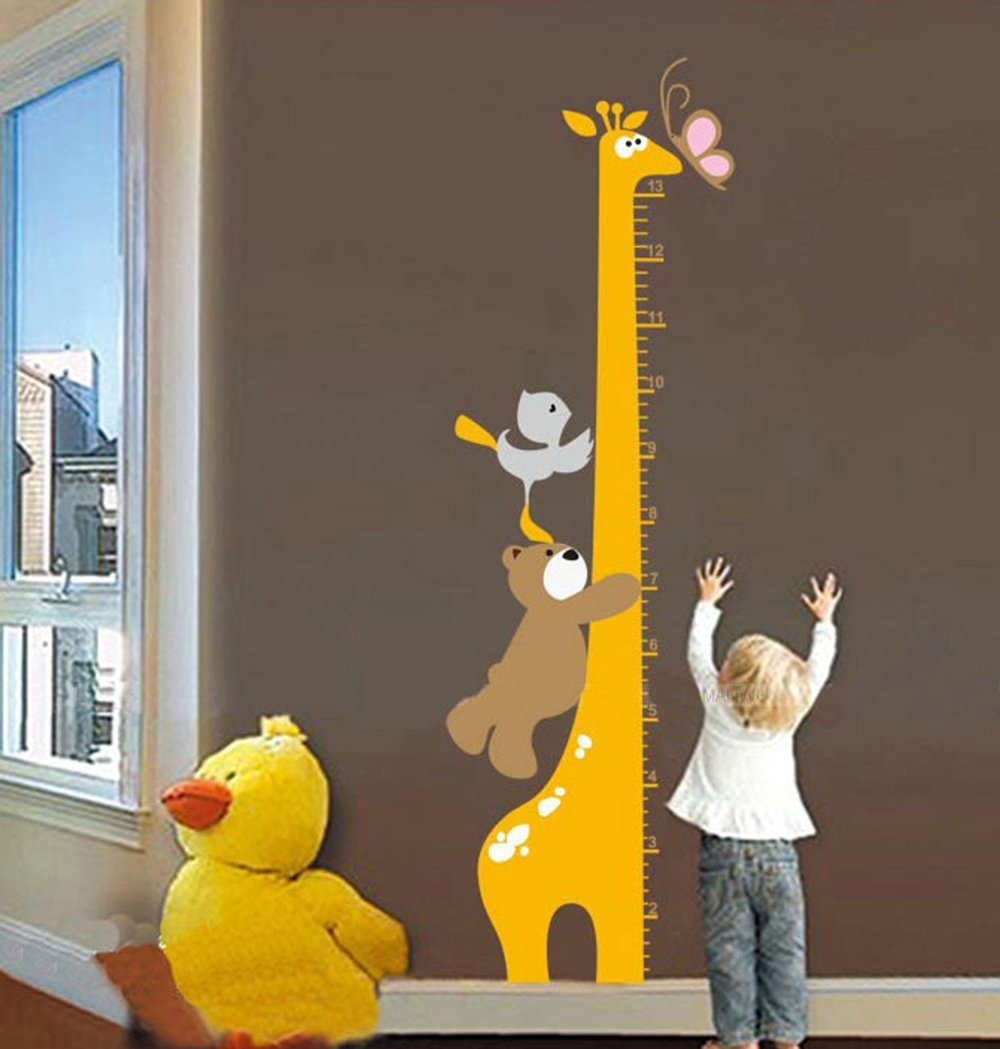 Tableau de Hauteur Girafe et Animaux Amis Stickers pour Enfants Hauteur Croissance de Mesure Tableau Sticker Mural Amovibles en Vinyle DIY Règle de 10-130cm pour Chambre Bébé, Chambre Enfants, Salle de Jeux FangKuai