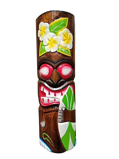 Amazon Com All Seas Imports 20 Handcarved Wood Surfboard Flowers