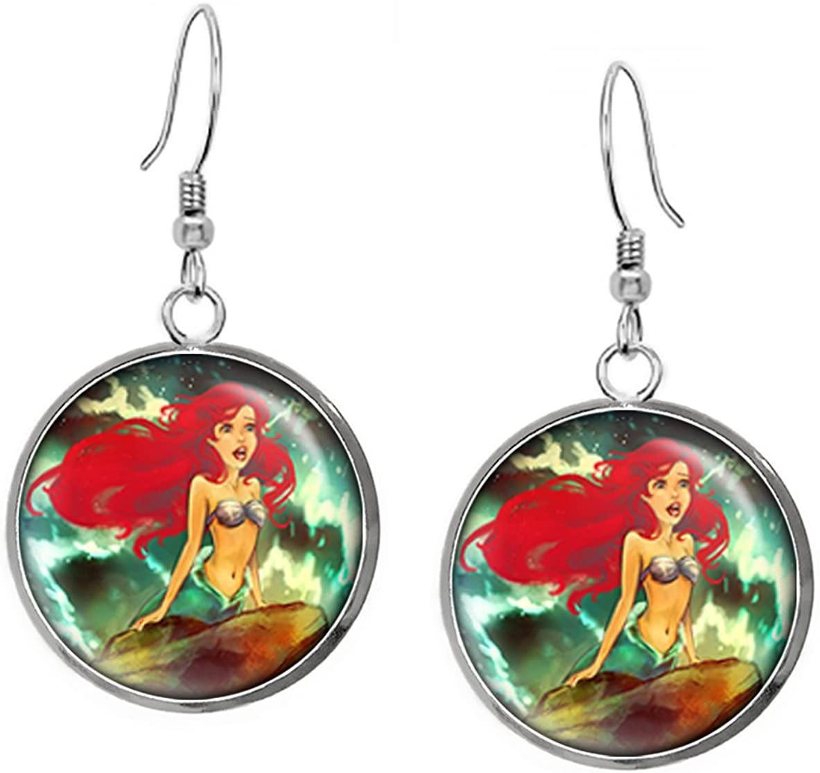 """Disney/'s The Little Mermaid /""""ARIEL/"""" Glass Pendant with Leather Necklace"""