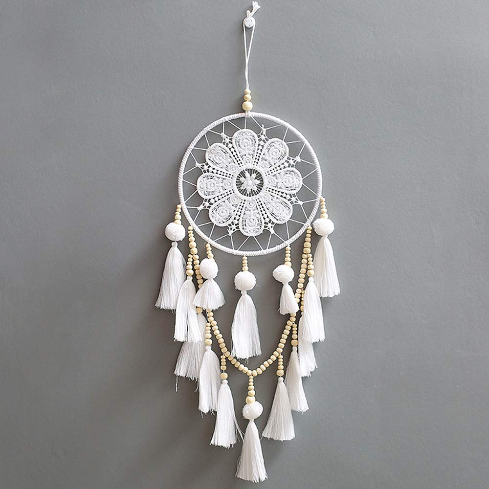 JuneJour Huge Handmade Dream Catcher Traditional Boho Style Feather Wall Hanging Car Décor Gift 7.9'' Diameter 26'' Long