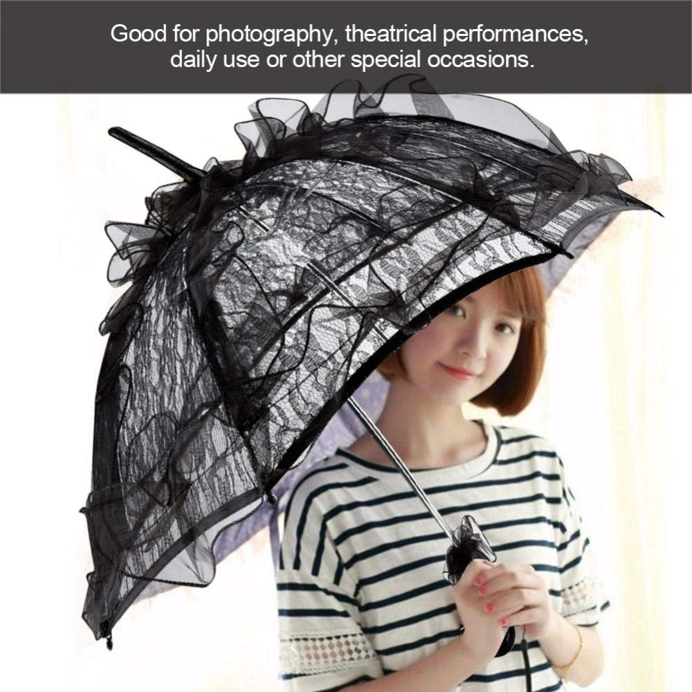 CDM product Zerodis Lace Umbrella Novelty Black Color Parasol for Lady Women Party Decor Dancing Photography small thumbnail image
